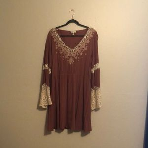 Plus Size Vintage Inspired Dress Lace Bell Sleeves